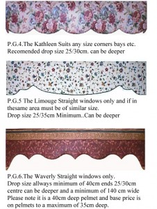 Pelmet Designs 4, 5 and 6